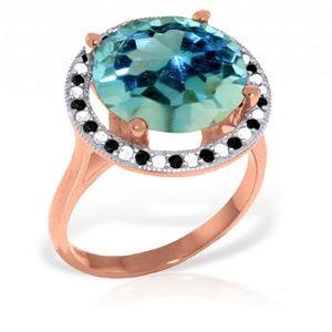 NATURAL BLACK / WHITE DIAMONDS & BLUE TOPAZ